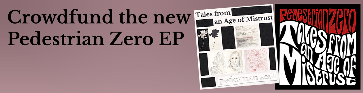 Promo banner for crowdfunding the new EP with artwork